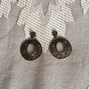 Antiqued Brass Ethnic Design Post Earrings